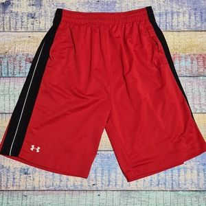 Under Armour Red Black Workout Basketball Shorts